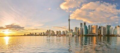Canvas print Panorama of Toronto skyline at sunset in Ontario, Canada.