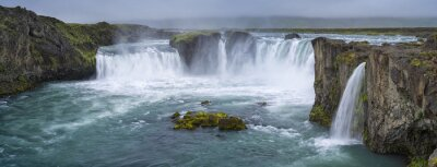 Canvas print panorama of waterfall with clouds in Iceland