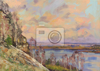 Panoramic spring landscape. Oil painting
