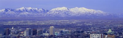 Canvas print Panoramic sunset of Salt Lake City with snow capped Wasatch Mountains