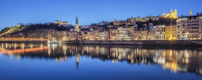 Canvas print Panoramic view of Lyon with Saone river by night