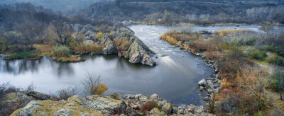 Canvas print panoramic view to the river in autumn