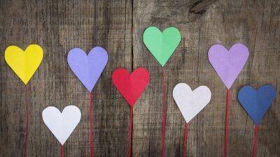 Canvas print Paper Hearts