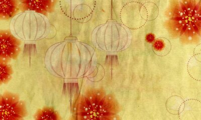 Canvas print Paper Lantern with Flowers