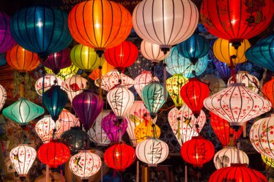 Canvas print Paper lanterns on the streets of old Asian  town