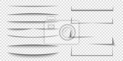 Canvas print Paper sheet shadow effect. 3D line edge shape. Transparent realistic sheet dividers. Web banner vector drop soft shadows