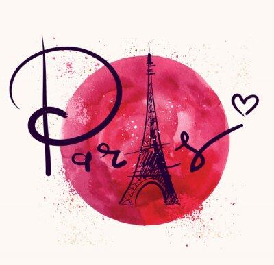 Canvas print Paris and red circle