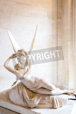 Canvas print Paris - June 23: Cupid statue on June 23, 2014 in Paris. Antonio Canova's statue Psyche Revived by Cupid's Kiss, first commissioned in 1787, exemplifies the Neoclassical devotion to love and emotion.