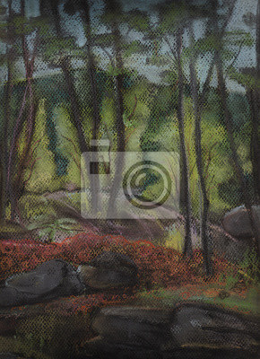 Canvas print Part of park with trees and stones