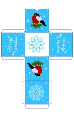 Pattern gift box for Christmas gifts with bullfinches on the branch and snowflakes.