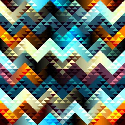 Canvas print Pattern in aztecs style on chevron background.