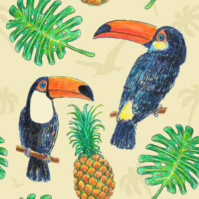 Canvas print Pattern Toucan Drawing Marker