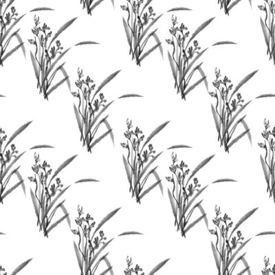 Pattern. Wild Orchid. Black and white ink image. Chinese, japanese style. Graphic arts. Background with flowers. Flowers and leaves.