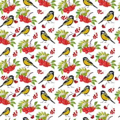 Pattern with Tits and spruce, Rowan branches