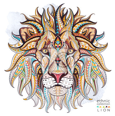 Canvas print Patterned head of the lion on the grunge background. African / indian / totem / tattoo design. It may be used for design of a t-shirt, bag, postcard, a poster and so on.