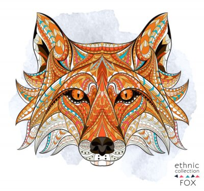 Canvas print Patterned head of the red fox on the grunge background. African / indian / totem / tattoo design. It may be used for design of a t-shirt, bag, postcard, a poster and so on.
