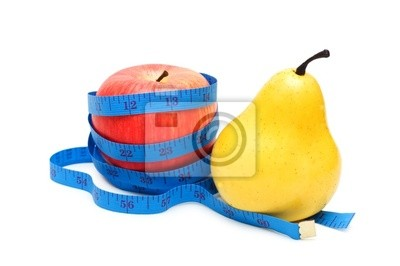 Pear and apple illustrating fruit dieting concept
