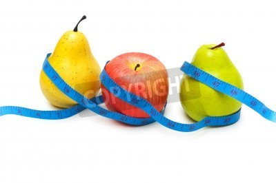 Pears and apple illustrating fruit dieting concept