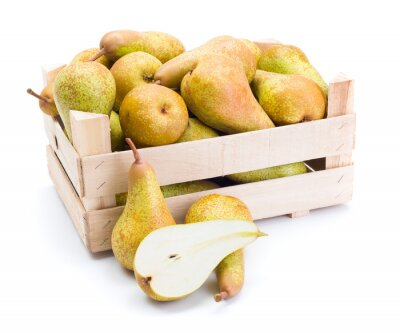 Canvas print Pears in wooden box
