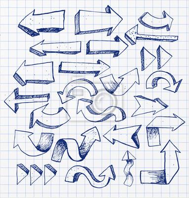 Canvas print Pen sketch arrow collection for your design.