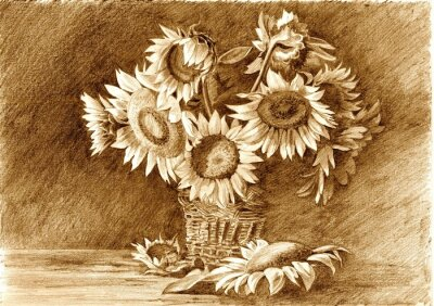 Canvas print Pencil drawing of bouquet of sunflowers in vase closeup