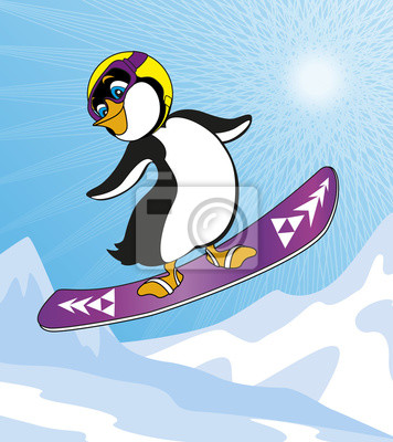 Penguin snowboarding in the mountains on a Sunny day