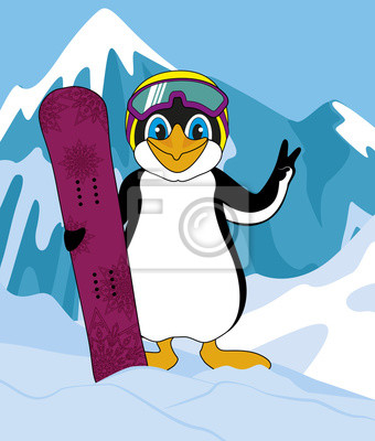 Canvas print penguin winner with snowboard mountains in the background