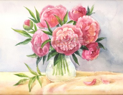 Canvas print peonies in a vase watercolor. Sketch of pink flowers, illustration suit for poster, background, invitation, postcard, cover, wedding design. Hand drawn painting.
