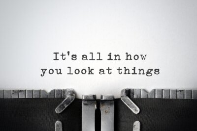 Canvas print Perspectives. Inspirational quote typed on an old typewriter.