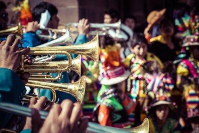 Canvas print Peruvian dancers at the parade in Cusco.