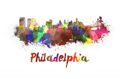 Canvas print Philadelphia skyline in watercolor