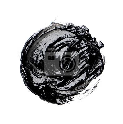 Photo of colorful black brush stroke oil paint