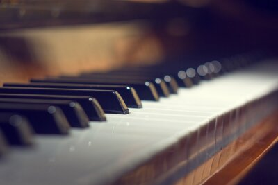Canvas print Piano keyboard background with selective focus