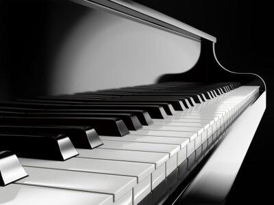 Canvas print piano keys on black piano