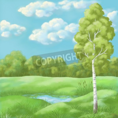 Picture, hand-draw oil paints  summer landscape, birch in the Lake