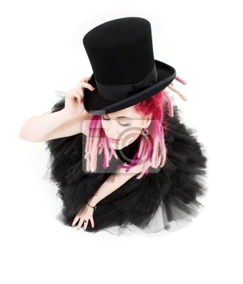 picture of bizarre pink hair girl with top hat