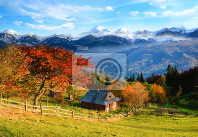 Picturesque autumn rural landscape with a tree with red leaves,