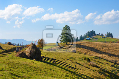 Picturesque autumn rural landscape with haystacks on the backgro