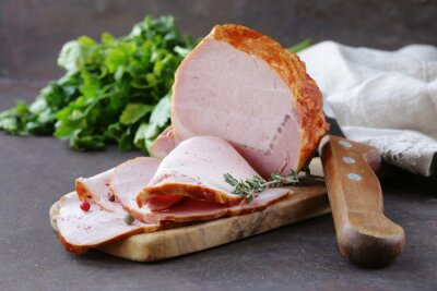 Canvas print piece of roasted meat (ham) with pepper and thyme