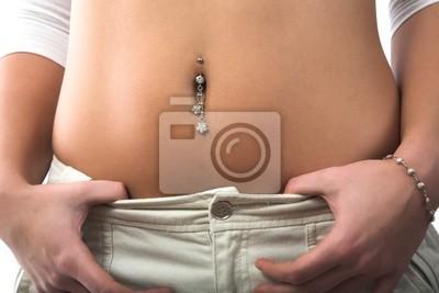 pierced belly ring.