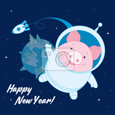 Pig in a space suit in space on the background of the rocket and the planet. Symbol of the new year in the Chinese calendar. 2019. Vector. Illustration for postcards, stickers, posters