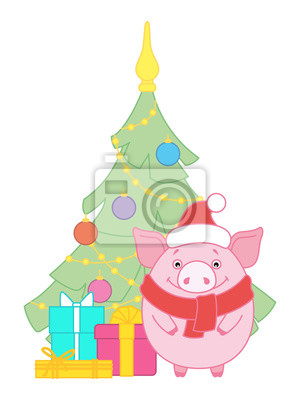 Pig near the Christmas tree, decorated with toys. Gifts near Christmas tree. Symbol of the new year in the Chinese calendar. 2019. Vector. Illustration for postcards, stickers, posters.
