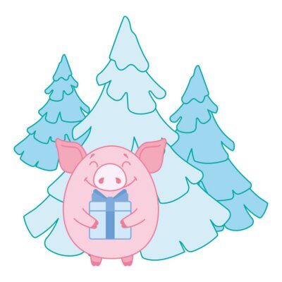 Pig with a gift on the background of snow-covered trees. Symbol of the new year in the Chinese calendar. 2019. Vector. Illustration for postcards, stickers, posters