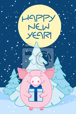 """Pig with a gift tied with a blue bow near the Christmas tree and the moon. Inscription """" Happy new year!"""" Symbol of the new year in the Chinese calendar. 2019. Vector."""