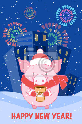 Pig with a glass of coffee on the background of the evening city and fireworks. Symbol of the new year in the Chinese calendar. 2019. Vector. Illustration for postcards, stickers, posters.