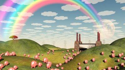 Canvas print Pigs move like lemmings toward factory