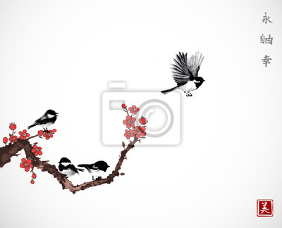 Pine tree, sakura cherry tree in blossom and little black bird on white background. Traditional oriental ink painting sumi-e, u-sin, go-hua. Contains hieroglyphs - zen, freedom, nature, beauty
