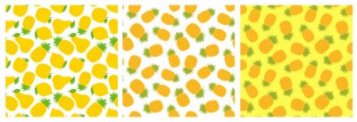 Pineapple, lemon, pear and apple. Tropical fruit seamless pattern set. Fashion design. Food print for clothes, linens or curtain. Hand drawn vector sketch. Yellow exotic background collection