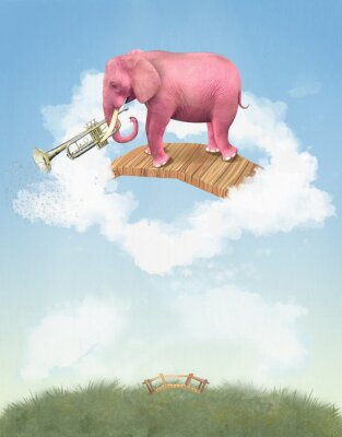 Canvas print Pink elephant in the sky with a trumpet. Illustration