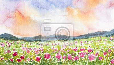 pink flower field landscape watercolor painted